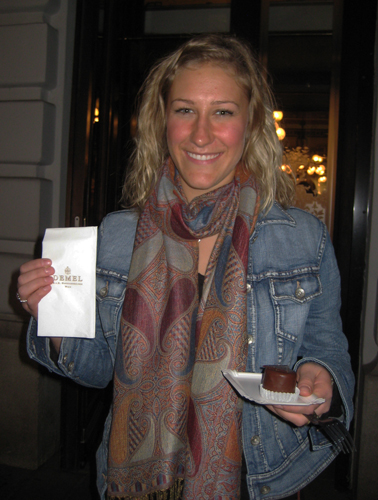 Courtney Beaming with a mini Sachertorte from Cafe Demel