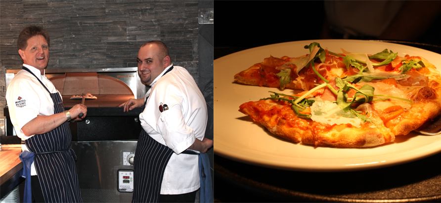 Executive Chef Bernard Casavant (left) Executive Sous Chef Brad Horen (right). pizza made in Smack Dab's new state –of-the-art gas Forno oven. Photos by Claire Sear