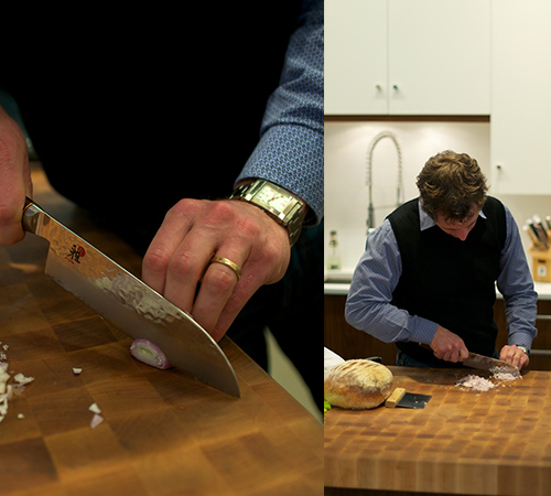 Cook Culture owner Jed showing off the new Myabi Artisan knife that each person who signs up for all the class's in David Mincey series gets.