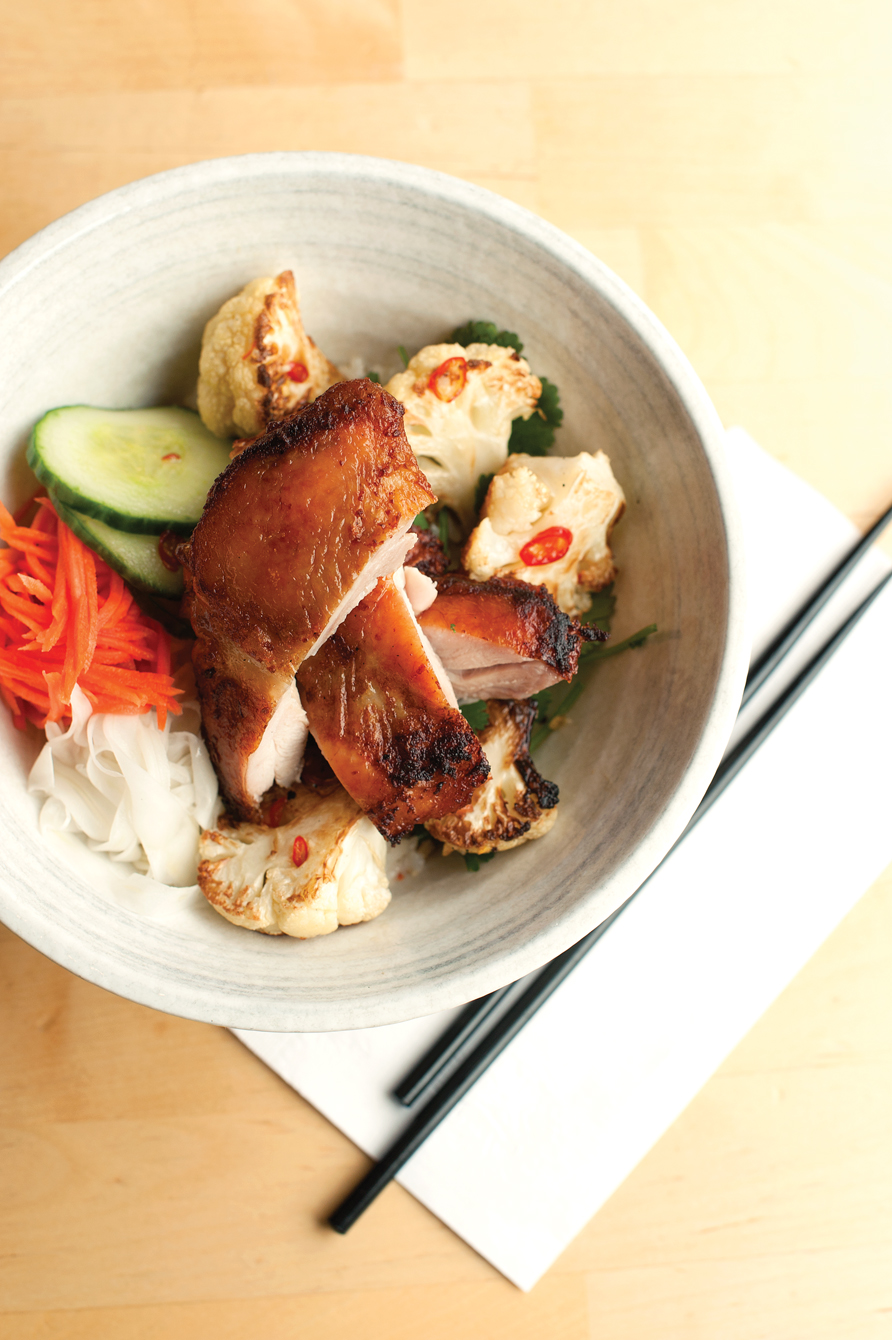 Crispy smoked chicken with roasted cauliflower, rice, pickles and South East Asian vinaigrette - Relish Food & Coffee