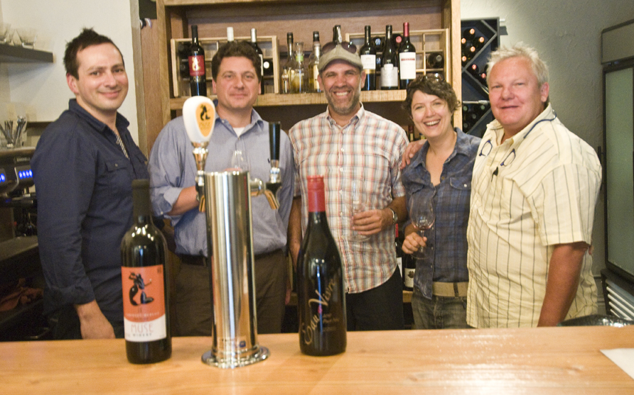 Left to right: Patrick Allard (Restaurant Manager at Ça Va), Lee Wakely (Keg Tappers), Mark Wachtin (Storied Wine & Spirits), Fauna Martin (Chef/Owner Ça Va), Peter Ellmann (Muse Winery)