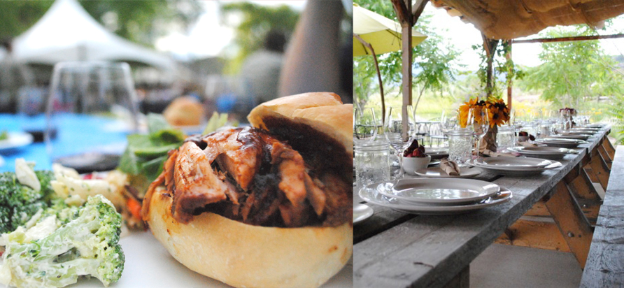 left: Pulled pork sandwiches, salads, and blue vinyl tablecloths at the Okanagan Falls Winery Association's Party in the Park. right: The casually elegant table set at Covert Farms - no white linens required. photos by Jeannette Montgomery