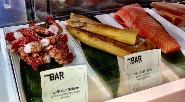 RawBar shrimp and sablefish