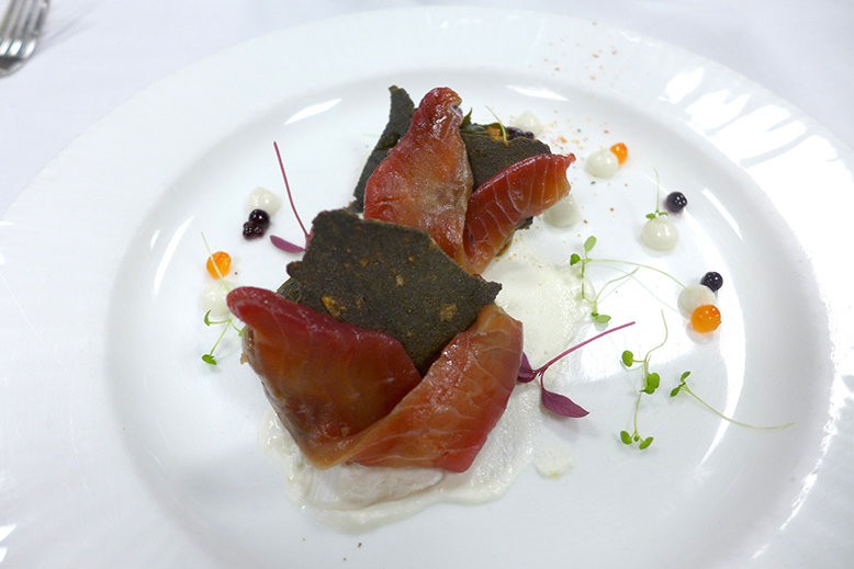 The Marina: Beet cured wild salmon, black rice crisp, pickled chanterelles and sea lettuce, chevre cream