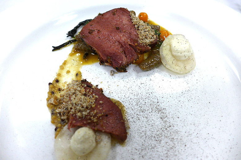 Tinhorn Creek: Beef tongue pastrami, fermented cabbage, kabocha squash, black trumpets, rye cavatelli