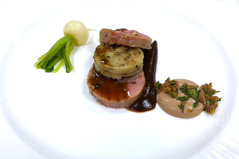 Wildebeest: Boudin of duck breast & confit leg, duck liver espuma, fig purée, truffle potato, blanched Tokyo turnip