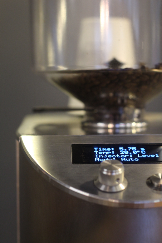 Close up of grinder controls