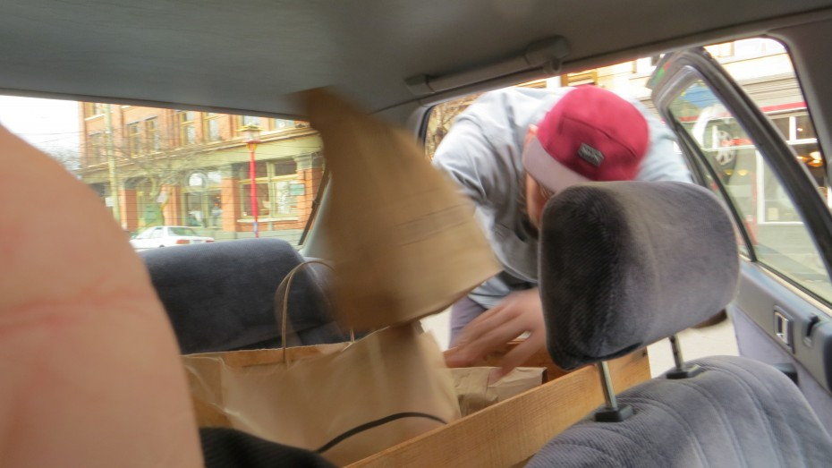 Liam unloading lunches.