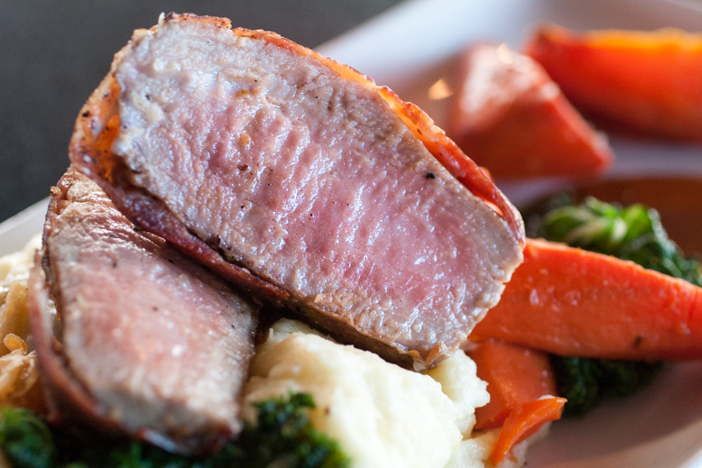 Prosciutto-wrapped Pork Tenderloin, paired with Casa Viva Pinot Noir