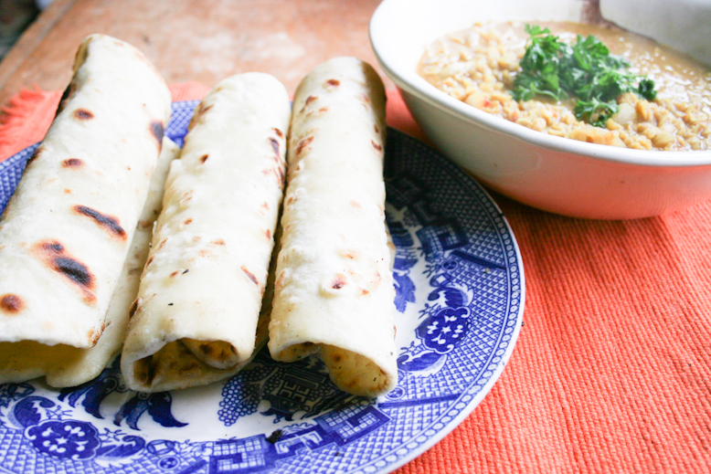 chapati - done with a little curry