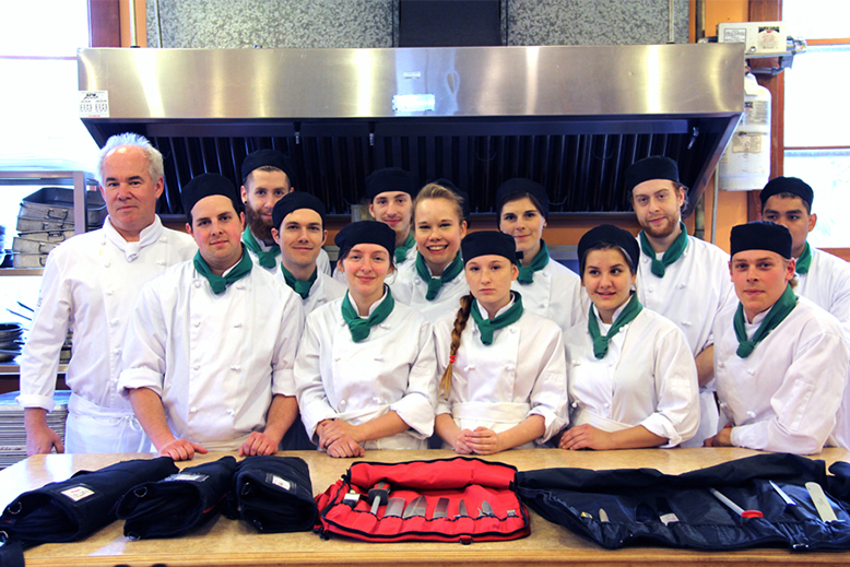 Students left to right. Front Row,   Chef/Instructor Allan Aikman Mark Shields, Chloe Dalsin, Kassandra Vanier, Montana Remple, Parker Schwinghammer, Middle. Thomas Brown, Madeline Routley,  Back Row. Luke Best, Adam Morris, Christine Matte, Alex Moisan, Kyle Brown