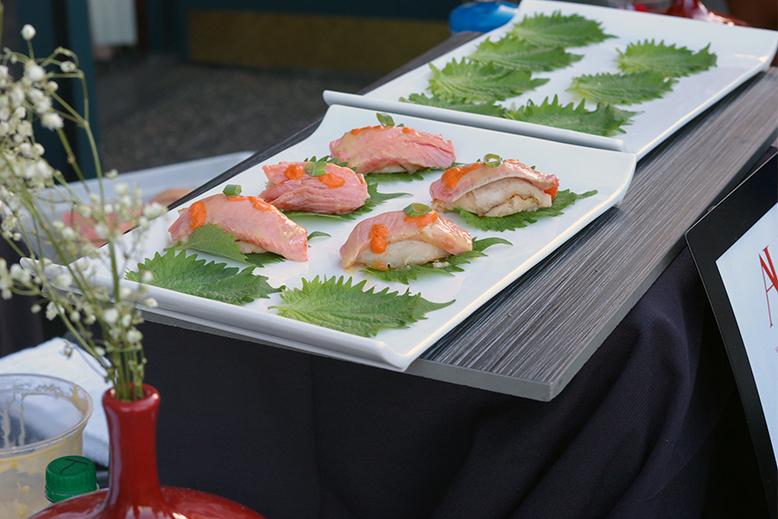 Aura's Yuzu Miso Salmon on a Shiso leaf. Photo by Holly Brooke.