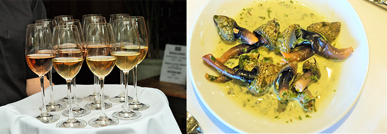 left: 40 Knots Spindrift Brut right: Gooseneck Barnacles with watercress puree (Lisa Ahier)