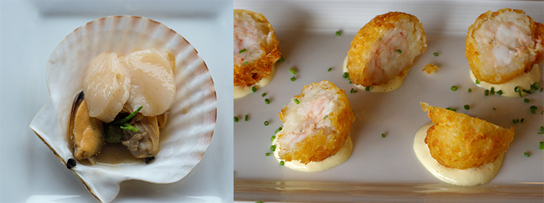 left: Raw scallops, mussels & clams. right: Side stripe shrimp croquettes