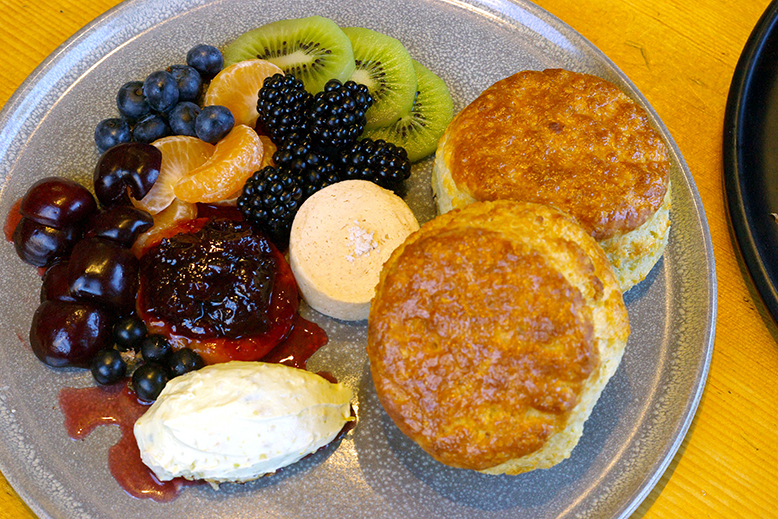 Fruit and biscuits