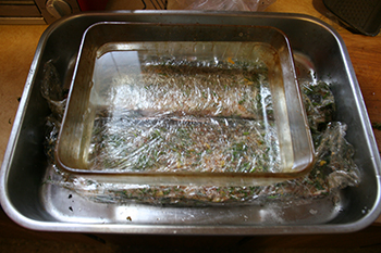 Gravlax-wrapped and weighted