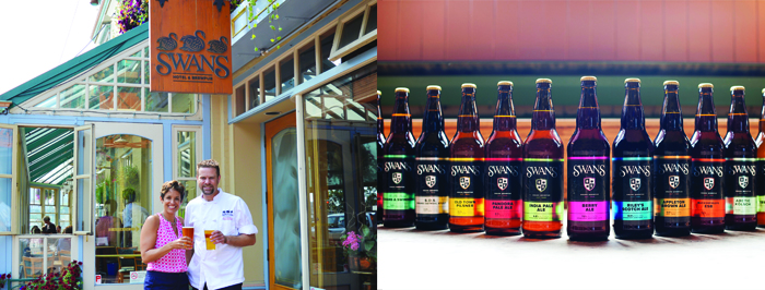 left: Theresa Dickinson, Swans General Manger and Executive Chef Jason McMillan. right: A selection of award-winning beers at Swans Hotel & Brewpub